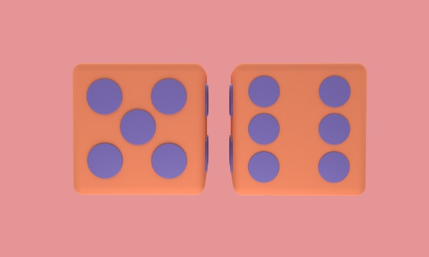 3d dice icon in pink lined with background