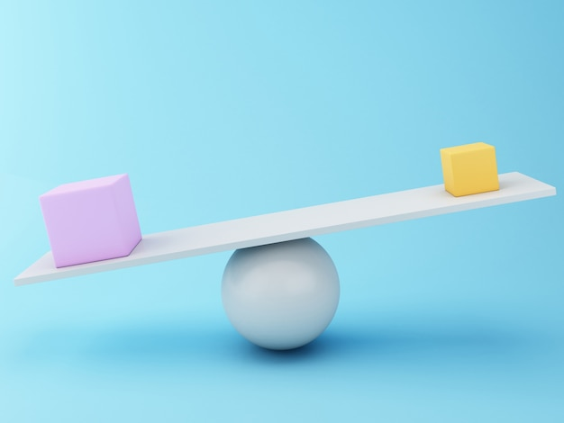 3d different cubes balancing on a seesaw.