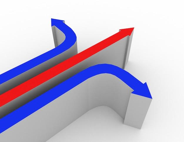 3d異なる方向の概念3dレンダリングされたイラスト