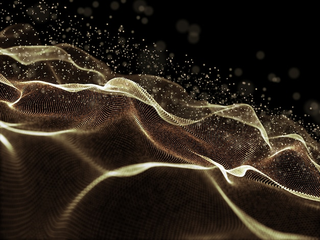 3d digital background with golden flowing cyber dots