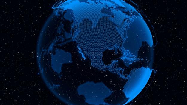3d digital earth показывает концепцию глобального сетевого соединения международных людей в глобальном бизнесе, вращающихся в звездах и космическом фоне. современные информационные технологии и концепция глобализации.
