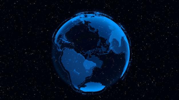 3d digital earthは、星と宇宙の背景で回転するグローバルビジネスにおける国際的な人々のグローバルネットワーク接続の概念を示しています