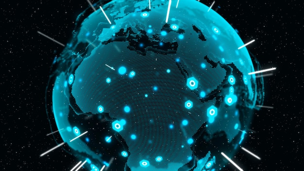 3d digital earthは、国際的な人々のグローバルネットワーク接続の概念を示しています。現代の情報技術とグローバリゼーションの概念。