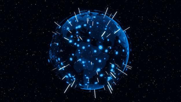 3d digital earthはグローバルネットワークの概念を示しています