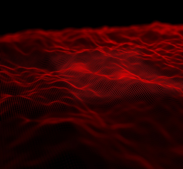 3d digital landscape background with flowing grid with shallow focus