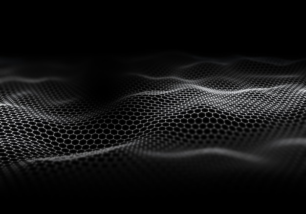 3d digital landscape of flowing dots with shallow depth of field