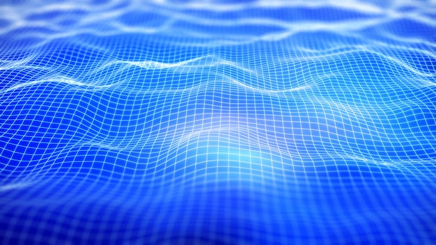 3d digital network background with flowing grid