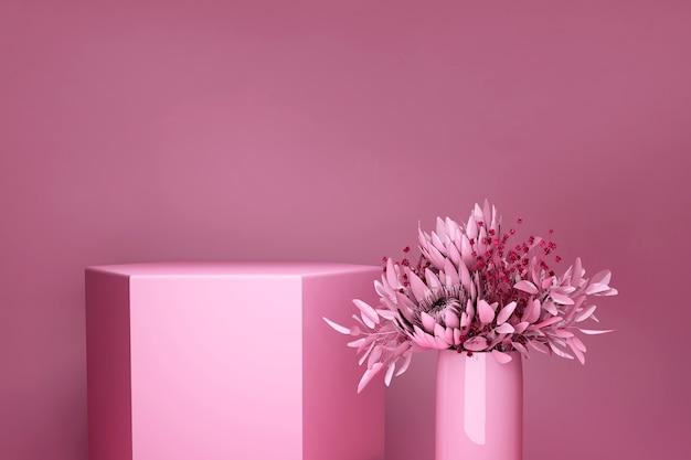3d 디스플레이 연단 밝은 분홍색 배경. 봄 꽃다발, 꽃병에 꽃. 아름다움, 화장품 발표를위한 자연 최소한의 받침대.
