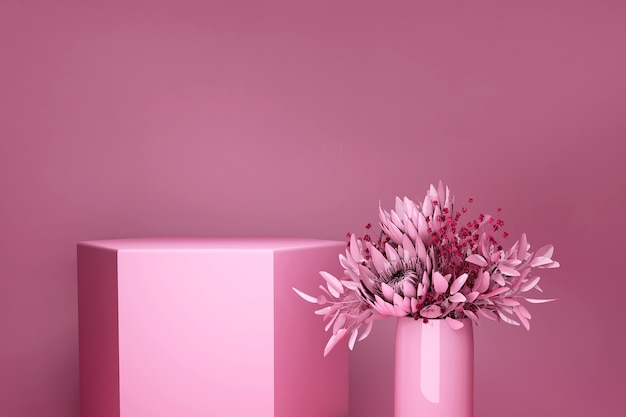 3d display podium bright pink background. spring bouquet, flowers in the vase. nature minimal pedestal for beauty, cosmetic product presentation.