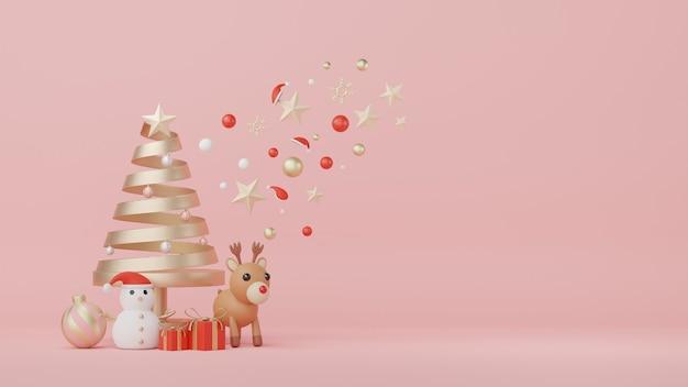 クリスマスと新年あけましておめでとうございますのコンセプトで製品と化粧品のプレゼンテーションのための3dディスプレイ表彰台