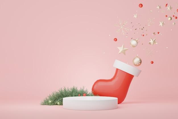 크리스마스 및 새해 복 많이 받으세요 개념으로 제품 및 화장품 프레젠테이션을 위한 3d 디스플레이 연단