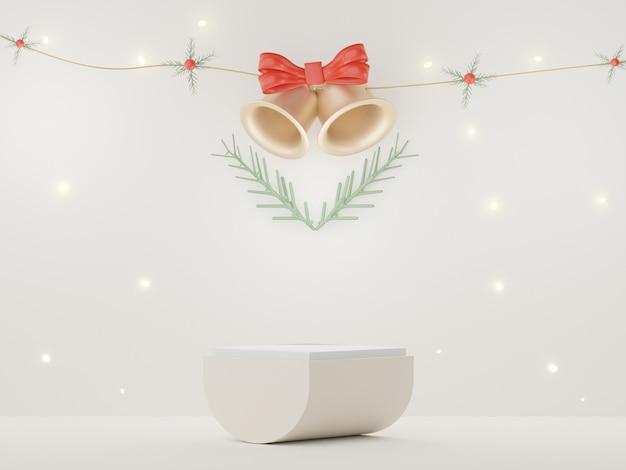 3d-подиум для презентации продуктов и косметики с концепцией рождества и нового года