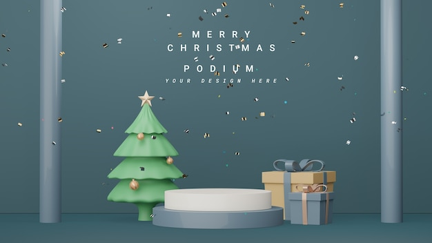 메리 크리스마스 및 새해 복 많이 받으세요 개념으로 제품 프레젠테이션을 위한 3d 디스플레이 연단