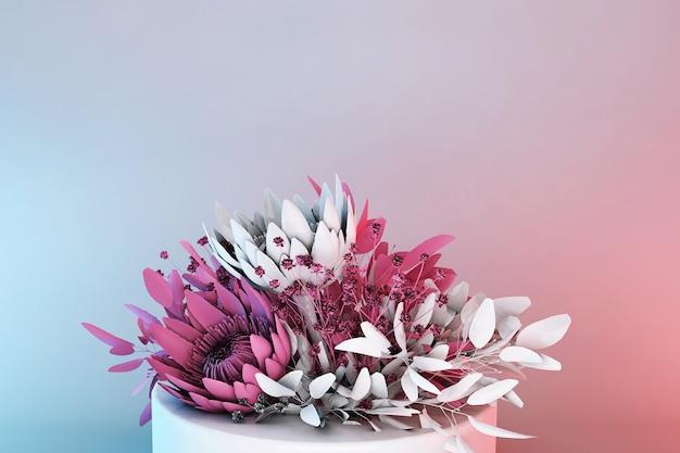 3dディスプレイ表彰台パステルピンクの花の背景。春の花、女性への贈り物に。