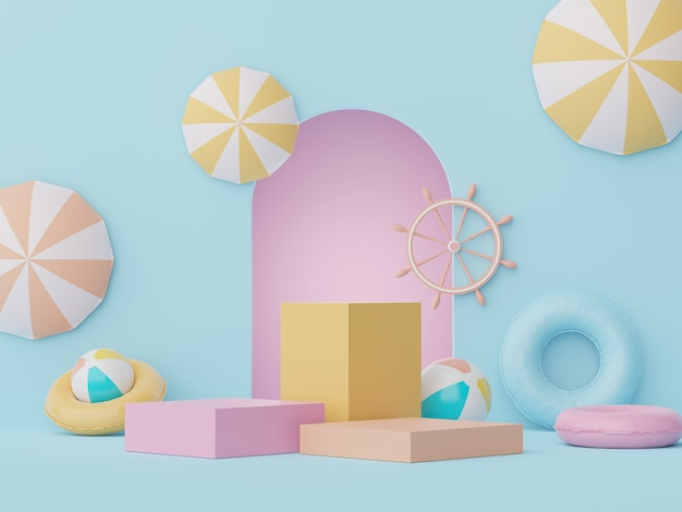 3d display podium for showing products or cosmetic presentation with summer scene