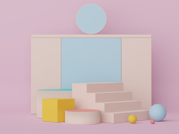 3d display podium with minimal geometric shapes design scene for mock up and product presentation