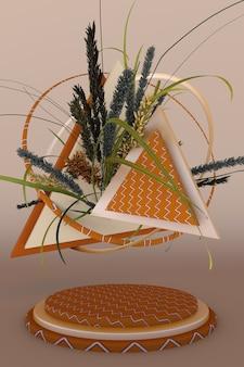 乾燥した植物の3dディスプレイ幾何学的形状の抽象的なベージュの背景最小限の自由奔放に生きるデザイン