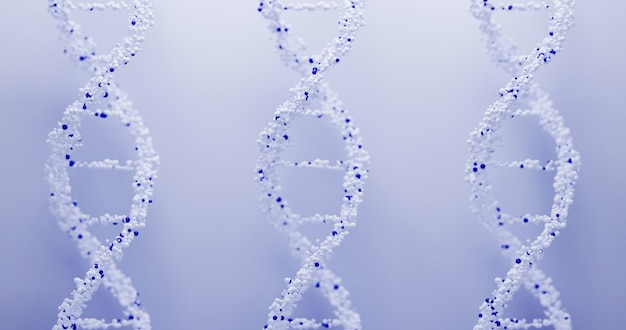 3d dna structure on a blue background. scientific medical background and healthcare technology for presentation, cover or advertisement.