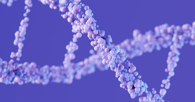 3d dna structure in lavender color on a purple background. close-up. scientific medical background and healthcare technology for presentation, cover or advertisement.