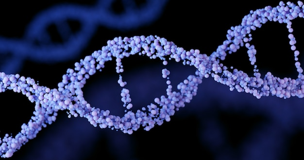 3d dna structure in lavender or purple color on a black background. close-up. scientific medical background and healthcare technology for presentation, cover or advertisement.