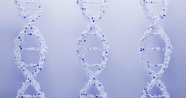 파란색 배경에 3d dna 구조입니다. 프레젠테이션, 표지 또는 광고를 위한 과학적 의학적 배경 및 의료 기술.