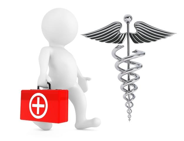 白い背景の上の銀の医療カドゥケウスシンボルと3dドクターキャラクター。 3dレンダリング