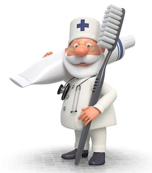 歯ブラシと3d医師の歯科医