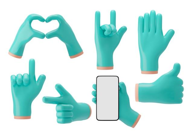 Рука доктора 3d в сине-зеленых резиновых перчатках показывает различные жесты для презентаций, рекламы. 3d визуализация иллюстрации.