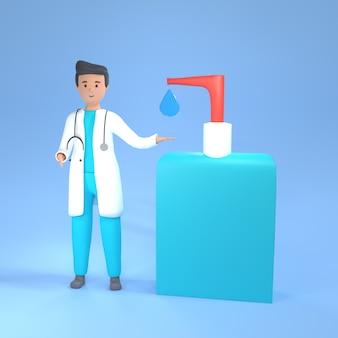 Иллюстрация доктора 3d с мылом гигиены. доктор 3d-рендеринг иллюстрации с мылом. 3d медицинская концепция гигиены рук с врачом