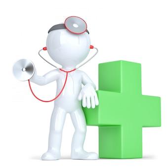 3d доктор со стетоскопом в руках. изолированные. содержит обтравочный контур