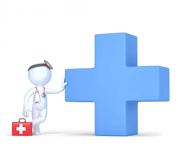 블루 의료 크로스 기호로 3d 의사입니다. 외딴. 클리핑 패스를 포함