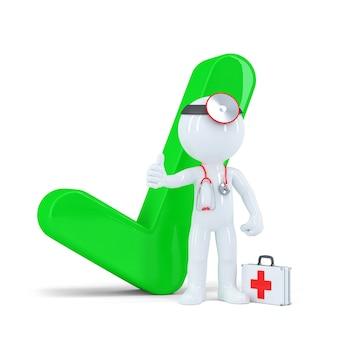 녹색 확인 표시와 함께 3d 의사입니다. 흰색 배경에 고립