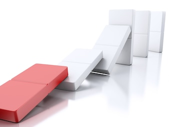 3d Domino tiles falling in a row