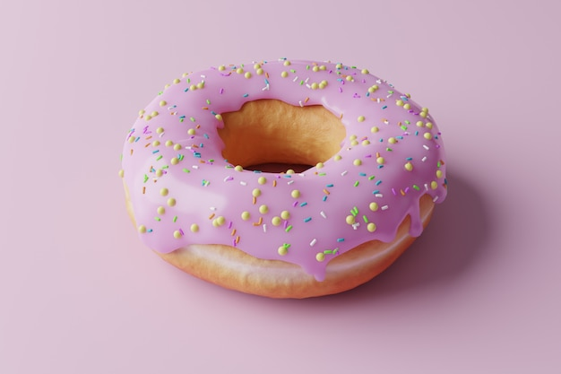 분홍색 배경에 3d 도넛