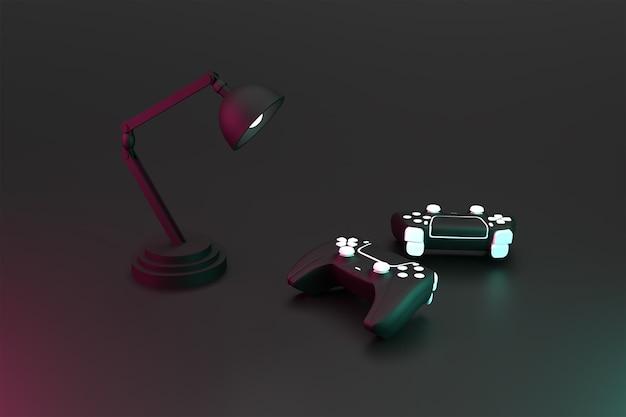 3dダブルジョイスティックゲームコントローラーと暗い表面のコンセプトがレンダリングされた電気スタンド