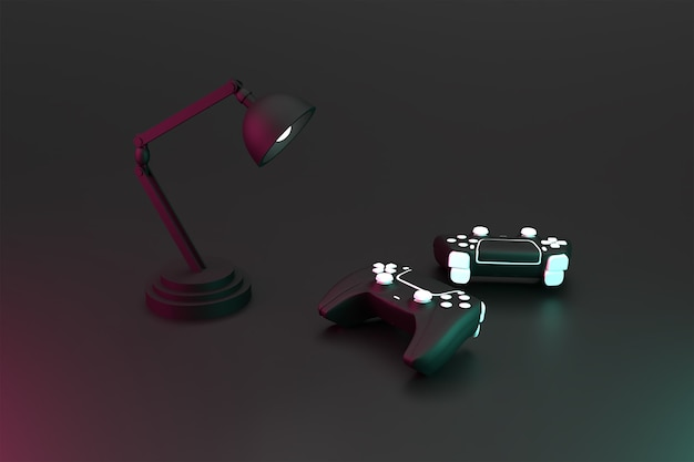 3d double joystick game controller and desk lamp with dark surface concept rendered