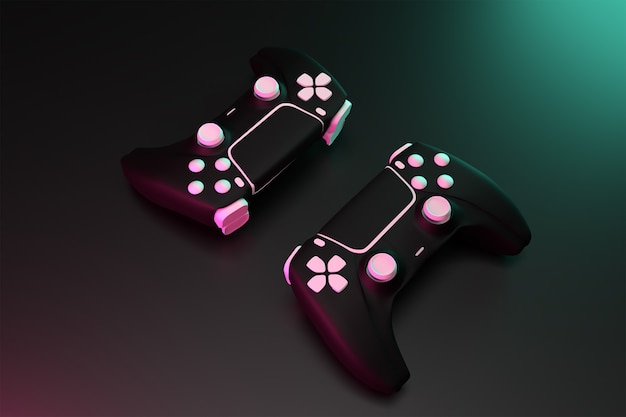 3d double joystick game controller with dark surface concept rendered hight