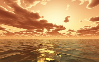 3D dramatic sunset over the ocean