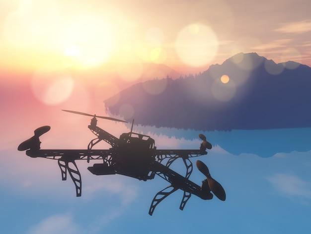 夕焼けの空で海を飛んでいる3d無人機