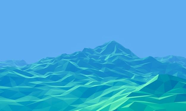 3d пыльный рельеф новой планеты. низкополигональная местность.