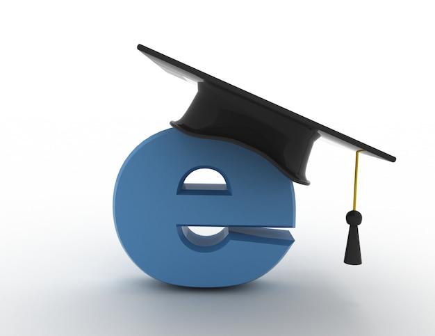 3d концепция электронного обучения. выпускной шляпа
