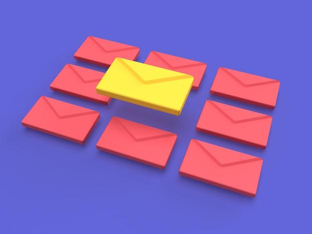 黄色とピンク色がレンダリングされた3d電子メール