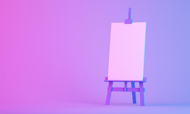 3d рендеринг мольберта на красочном фоне