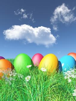 3d пасхальные яйца в траве