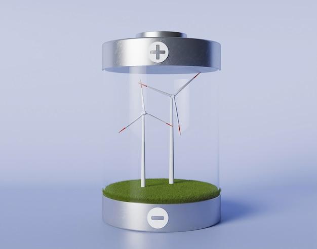 Progetto eco 3d per l'ambiente con mulino a vento