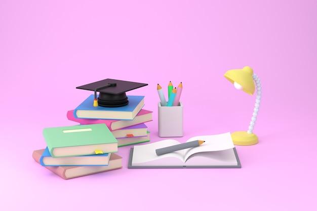 3d 교육 개념 부지런한 연구 개념 졸업 모자와 교육 성공의 미래