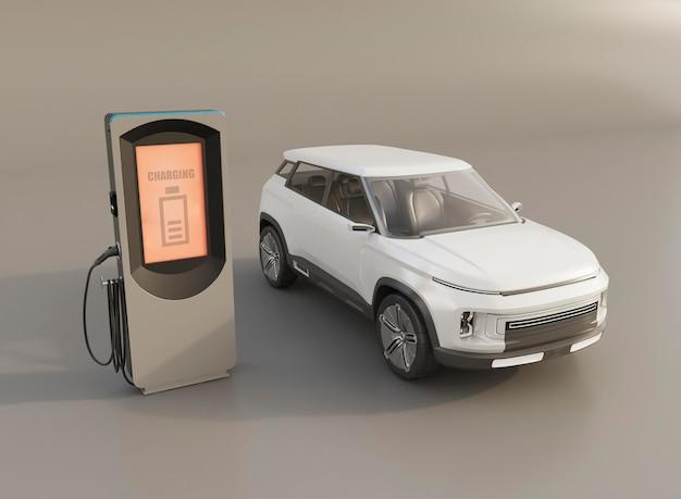 Auto elettrica 3d e stazione di ricarica