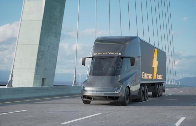 3d camion elettrico sulla strada