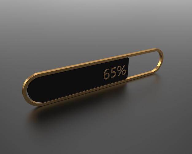 숫자와 황금색 금속 프레임이 있는 3d 우아한 로딩 바
