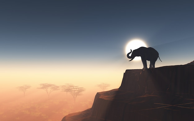 3d elephant on a cliff against a sunset sky